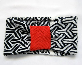 Geometric Knit headband, black and white, Ghucci - Knit Mystique