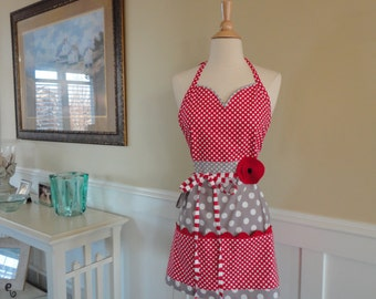 "Sugar Pie -   ""Barbie Pockets and More Style""   Red and Gray - Women's Retro Modern 4RetroSisters"