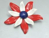 Vintage Enamel Flower Pin Brooch Red White Blue Patriotic Zinnia