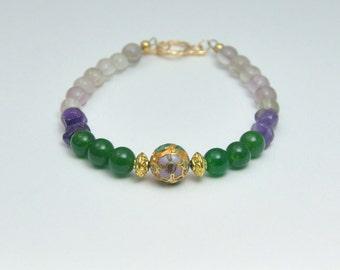 Green Jade and Amethyst Bracelet Vintage Gold Cloisonne Purple and Green Spring Bracelet