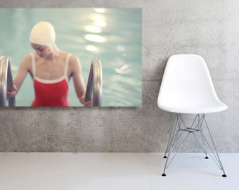 Girl in the Pool Large Mounted Canvas Ready to Hang Mid Century