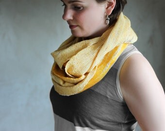 Yellow chunky scarf felted women wool cowl merino neck warmer felt loop infinity hood loop scarf summer scarf - handmade to order