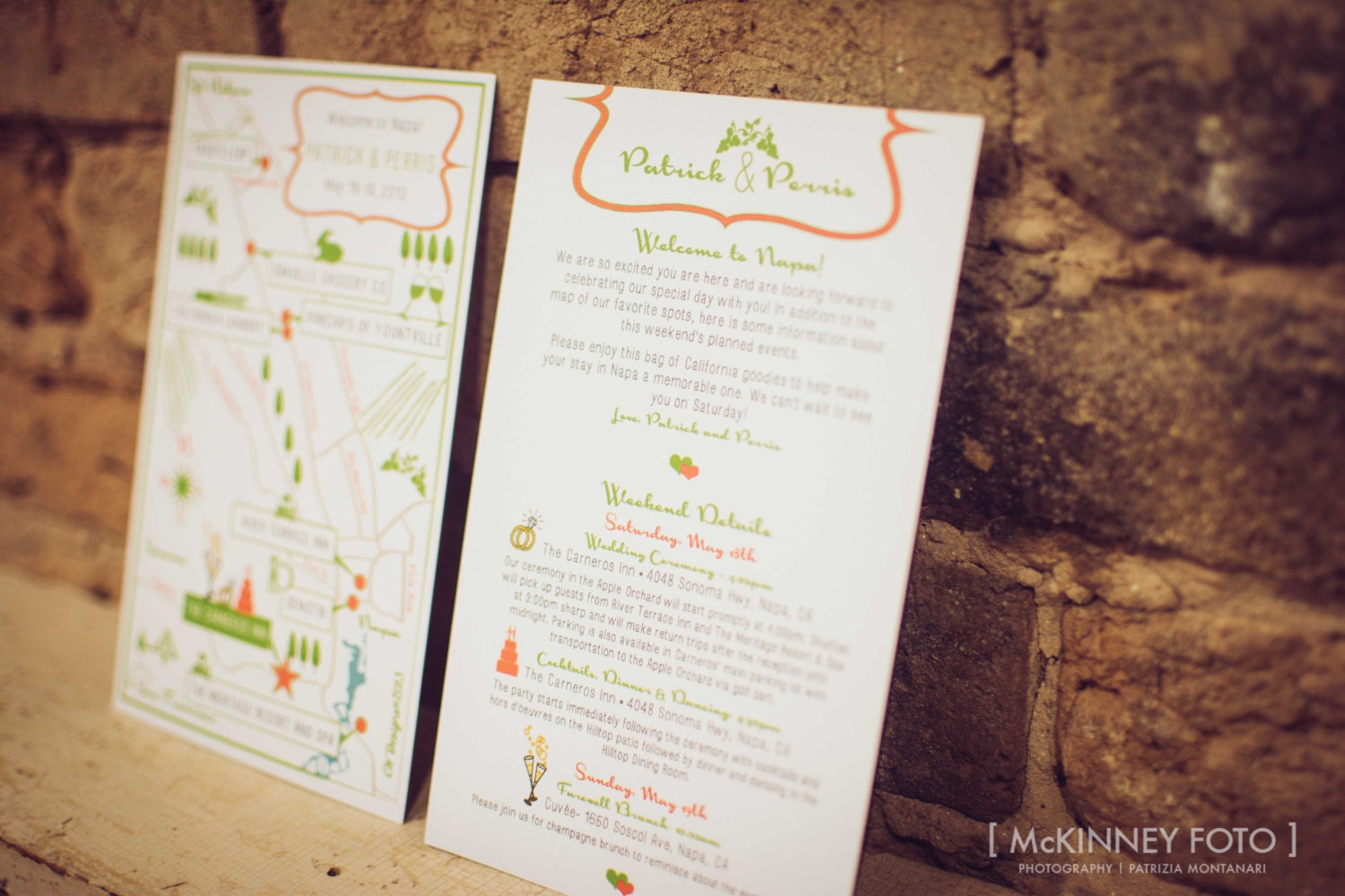 Custom Chic Wedding Map with Itinerary Napa by cwdesigns2010