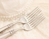 Nautical Wedding Decor Captain First Mate Wedding Fork Set, Euro Size Stainless - Yacht Club