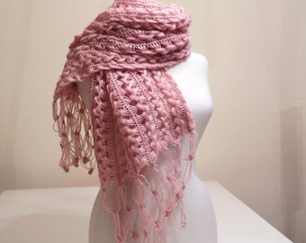 CLEARANCE! Pink Mohair Honey Comb Rectangular Shawl