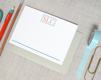 Three Letter Monogram Stationery | Set of 10 Personalized Flat Note Cards | Custom Colors