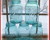 5 Blue Ball Mason Jars QUART Size Vintage
