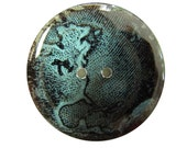 Set of 2 Handmade Resin Buttons - Western Hemisphere on Blue-Green