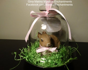 Easter Bunny Glass Cloche with white Bunny and ribbon