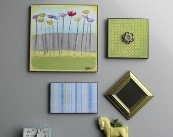 wall art collage - Summer Vintage - a 4 piece arrangement -  wall gallery - home decor