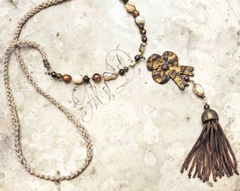 Long tassel necklace vintage brass bullion golden bow Antique French finds assemblage boho lariat gold brass beige and tan beads