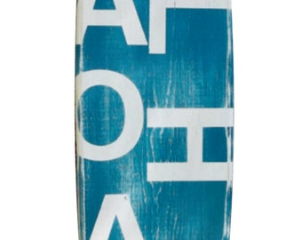 Aloha distressed surfboard wall hanging, surfboard wall art decor