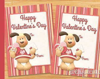 Cute Puppy Dog Valentine Card - Printable Valentines Day Cards