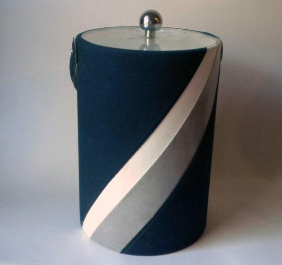Vintage Georges Briard Blue Ultrasuede Ice Bucket