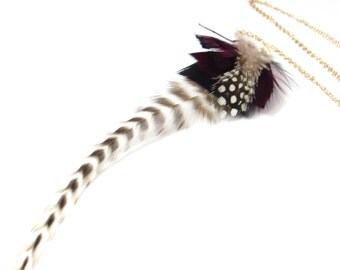 Natural Feather Necklace On Gold Chain, Purple Feathers, Real Feather Necklace, Statement Necklace