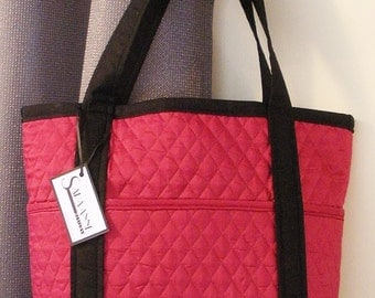 Burgundy and Black Quilted Tote Bag