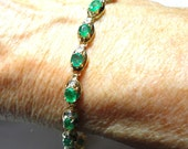 Emerald Bracelet Emerald and Diamond Tennis Bracelet in solid 14k Gold Genuine Natural Colombian Emeralds