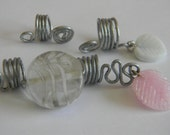 3 Dreadlock Coils Swirl Clear Pink White Grey: Boho Chic, Gypsy, Rustic, Dread Cuff Charm, Dreadlock Accessories, Jewelry, Ring, Leaf Ripple