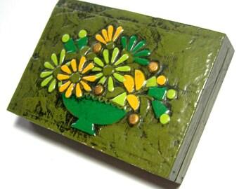 Decoupage Box, 3D Decoupage Box, Green Floral Box, Vintage Playing Card Box, Green Retro Flower Card Box, Decoupage Flower Trinket Box