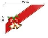 Static Cling Christmas Holiday Ribbon and Bells Screen Door Seasonal Decoration