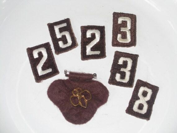 brownie girl scout pin lot troop numbers vintage badges