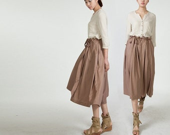 Maxi Skirt Lagenlook Sexy Bud Long Skirt in Coffee(more colour and size choice)-NS32