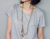 Turquoise Stone Brass Tassel Long Necklace