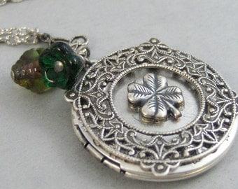 Lucky Shamrock,Locket,Shamrock,Antique Locket,Silver Locket,Clover,Luck,Irish,Lucky,Shrock,Love. Handmade jewelry by valleygirldesigns