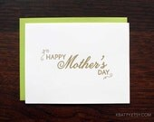 Happy Mother's Day Letterpress Greeting Card with Lime envelope from KBatty