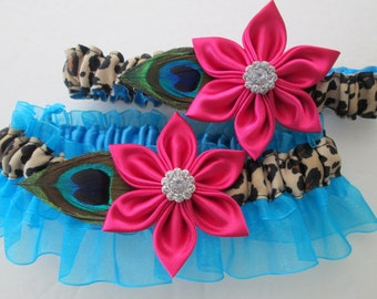 Peacock Wedding Garter Set, Pink & Blue Garters, Cheetah / Leopard Garters, Turquoise / Teal Garter, Prom 2015 Garter, Beach Weddings
