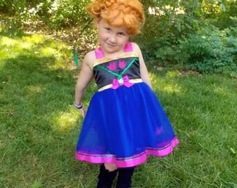 Anna Dress: tutu dress, sparkle, blue green pink, frozen party, Birthday, Princess dinner, halloween costume, twirl, vacation, adjustable