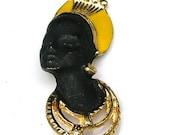 Vintage Brooch African Nubian Princess Yellow Enamel and Black Painted  Pin
