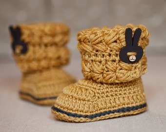 Crochet Baby Booties - Baby Cable Boots ready to wear (3-6 months)