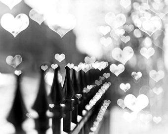 "Black & White Photography, Large Wall Art, Fence, Romantic, Travel, Paris Print, Wall Decor, ""Love Stroll"""