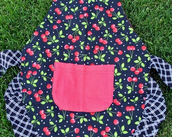 SALE Child's Cherry Print Reversible Apron