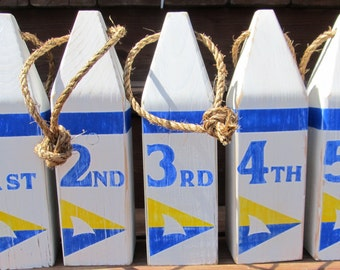 Set of 5 Custom buoys. Nautical wedding table numbers. Beach Wedding buoys. Custom Buoys. Home decor. Made to order.