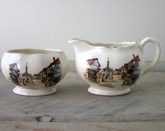 Vintage China Transferware Creamer and Sugar Set