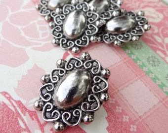 """6 Pewter Heart and Scrolling Button. Metal. 1"""" button. 21D"""