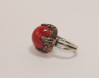 Red Coral Gemstone Sterling Silver Ring