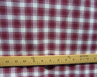 """Burgundy and Cream Checked Home Spun Fabric 1 yard x 45"""" Additional Yardage Available NEW"""