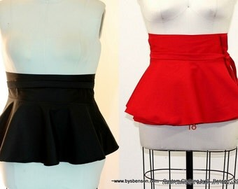 Plus Size Pepum Belt White Red /Royal blue/ Black Twill Peplum Belt size (14 - 26 ) Adjustable