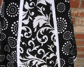 Now on Sale - 30% Off -  Ladies Black and White Half Apron