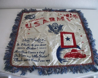 Vintage U S Army Souvenir Rememberance Pillow Cover