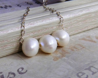 White Pearl Necklace, White Pearl Trapeze, Swing necklace, beaded wedding necklace, Sterling Silver, Gold Filled Necklace, Bridesmaid