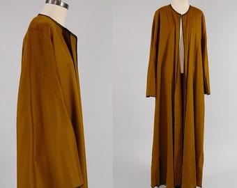 SALE Vintage OLIVE wool ceremonial robe / HUGE belled sleeves / Ultra maxi length