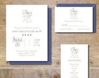 Stick Figure Wedding Invitations, Whimsical Invitations, Stick Figures, Casual Wedding Invitations, Modern Wedding - Stick Figures