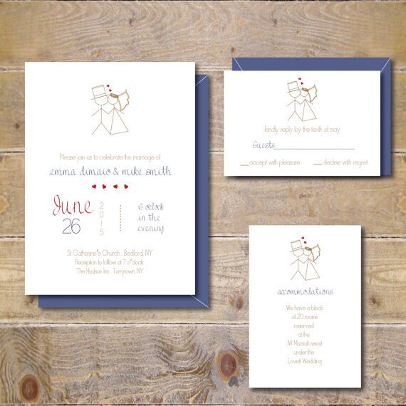 Stick Figure Wedding Invitations Whimsical Invitations Stick