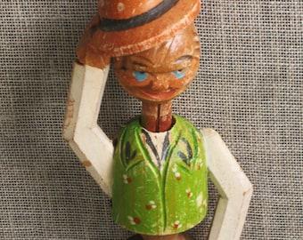 Bottle Stopper , Anri , Hand Carved , Decorative Bottle Stopper , Folk Art , Bar Ware , Wood Carving ,Male Figure ,Male Portrait ,Man in Hat