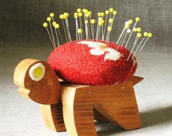 Pin Cushion , Turtle , Sewing Tool , Handmade , Folk Art Pin Cushion , Turtle Pin Cushion , Sewing Supplies , Sewing Supply , Pin Holder