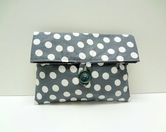 READY TO SHIP Polka Dot Clutch In Gray Makeup Bag Cosmetic Bag Bridesmaid Gift
